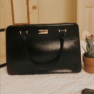 "Kate spade 11"" black textured patent bag"